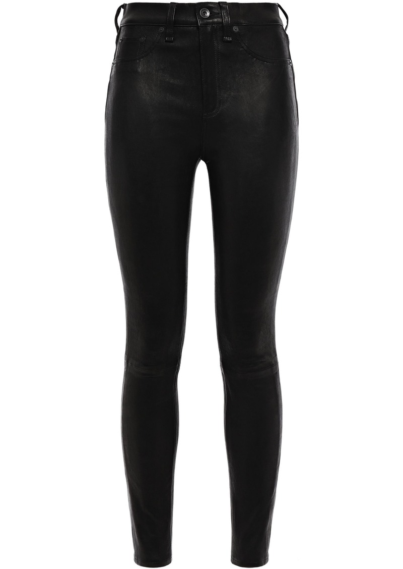Rag & Bone Woman Stretch-leather Skinny Pants Black