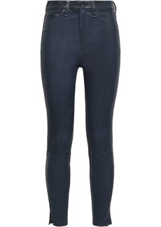 Rag & Bone Woman Stretch-leather Skinny Pants Storm Blue