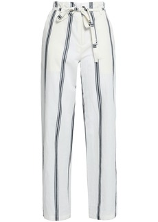 Rag & Bone Woman Striped Cotton And Linen-blend Straight-leg Pants Ivory