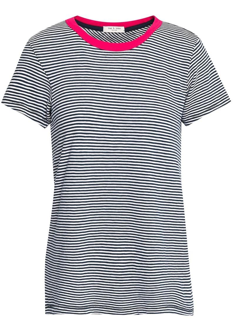 Rag & Bone Woman Striped Cotton-jersey T-shirt Navy