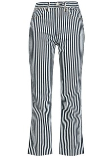 Rag & Bone Woman Striped High-rise Straight-leg Jeans Navy