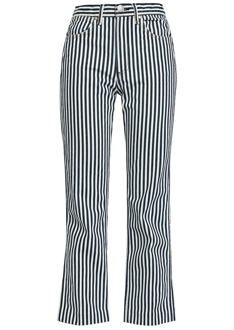 Rag & Bone Woman Striped High-rise Straight-leg Jeans Navy