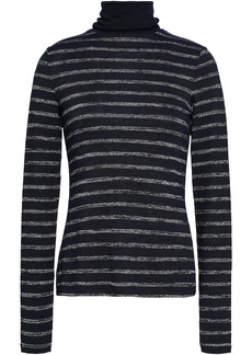 Rag & Bone Woman Striped Knitted Turtleneck Top Midnight Blue