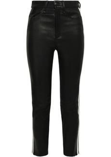 Rag & Bone Woman Striped Leather Skinny Pants Black