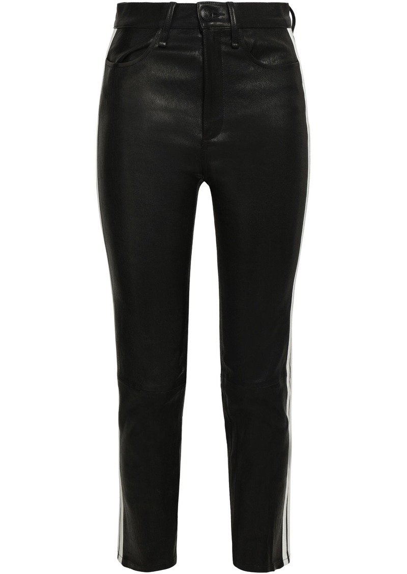 Rag & Bone Woman Striped Leather Skinny Pants Black
