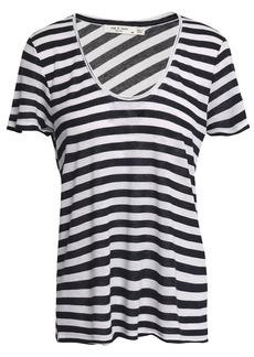 Rag & Bone Woman Striped Modal And Linen-blend Jersey T-shirt Navy