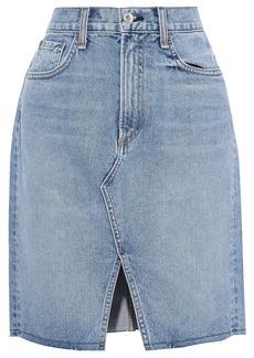Rag & Bone Woman Suji Faded Denim Mini Skirt Light Denim
