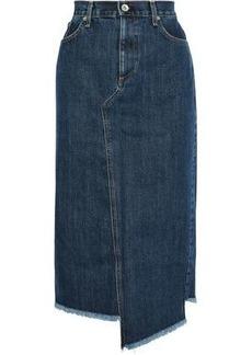 Rag & Bone Woman Sukato Asymmetric Frayed Denim Midi Skirt Dark Denim