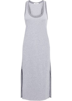 Rag & Bone Woman Summer Two-tone Mélange Linen-blend Jersey Midi Dress Gray
