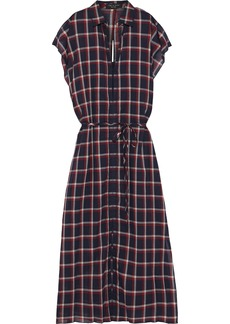 Rag & Bone Woman Sybil Cutout Checked Cotton-gauze Midi Dress Navy