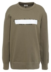 Rag & Bone Woman Tape Oversized Printed French Cotton-terry Sweatshirt Army Green