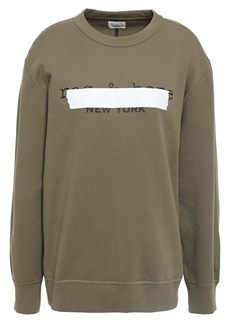 Rag & Bone Woman Tape Oversized Printed French Cotton-terry Sweatshirt Army Green