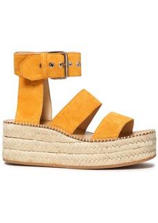 Rag & Bone Woman Tara Embroidered Suede Platform Espadrille Sandals Mustard