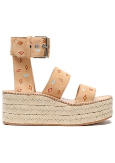 Rag & Bone Woman Tara Embroidered Suede Platform Espadrille Sandals Sand