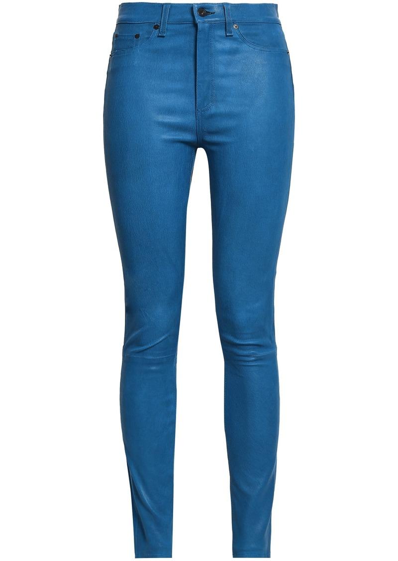 Rag & Bone Woman Textured-leather Skinny Pants Royal Blue