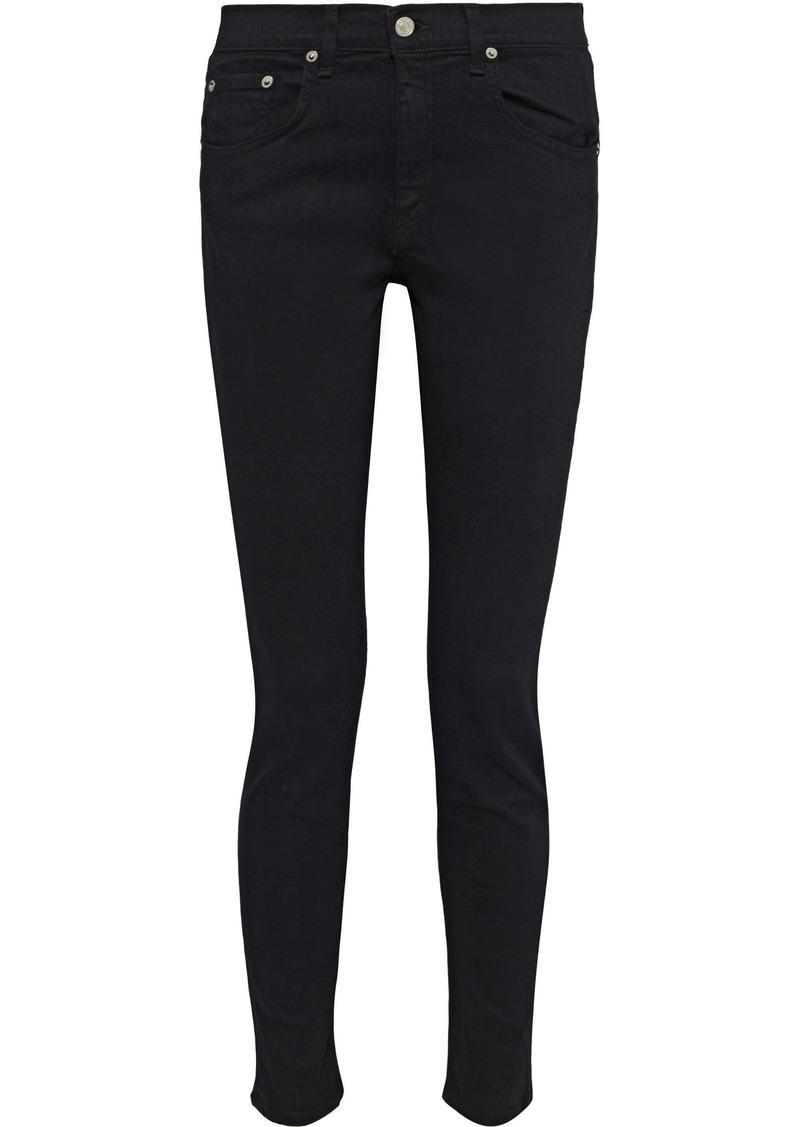 Rag & Bone Woman The Skinny Distressed Low-rise Skinny Jeans Black