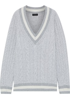 Rag & Bone Woman Theon Striped Cable-knit Merino Wool Sweater Light Gray
