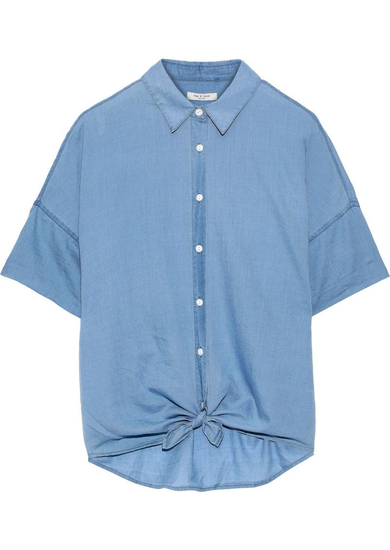Rag & Bone Woman Tie-front Cotton-chambray Shirt Blue