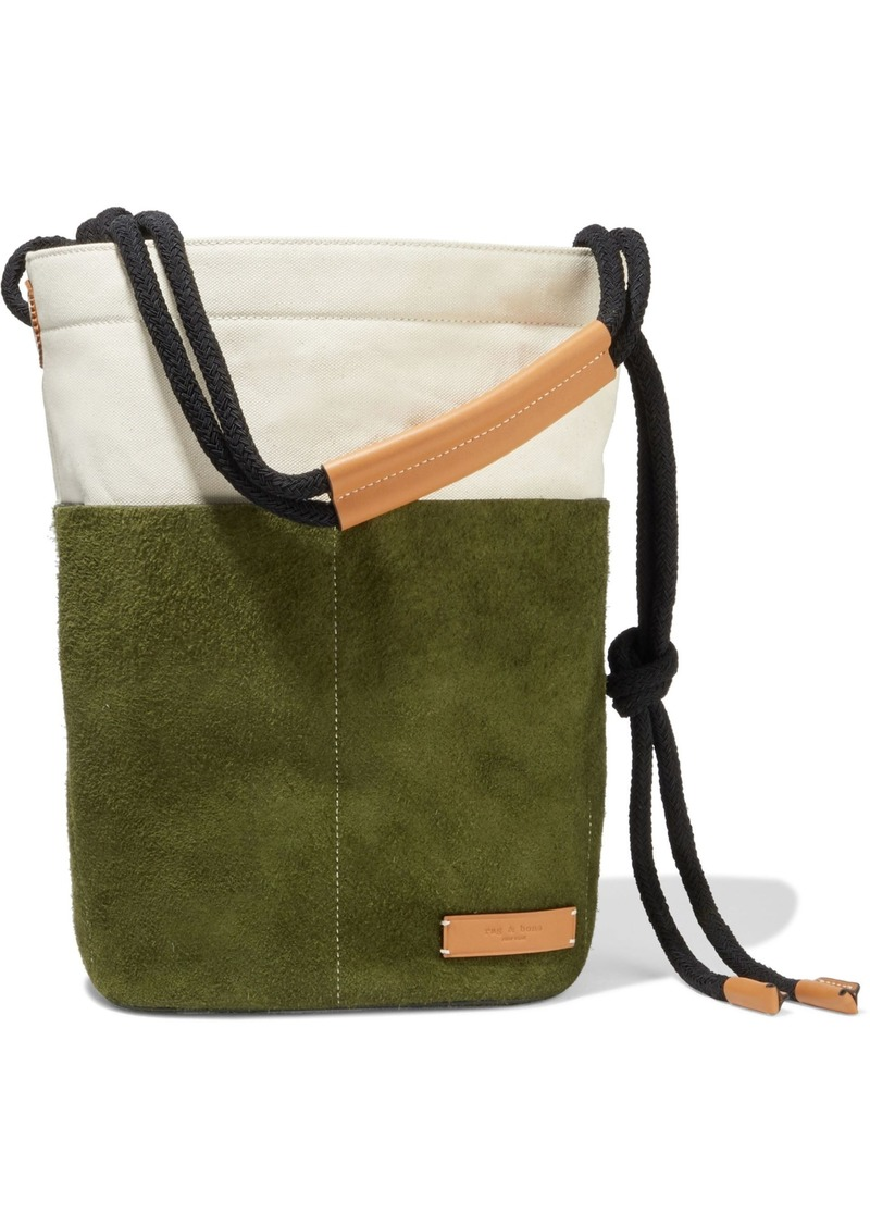 Rag & Bone Woman Tool Leather-trimmed Canvas And Suede Tote Leaf Green