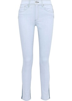 Rag & Bone Woman Two-tone High-rise Skinny Jeans Mid Denim