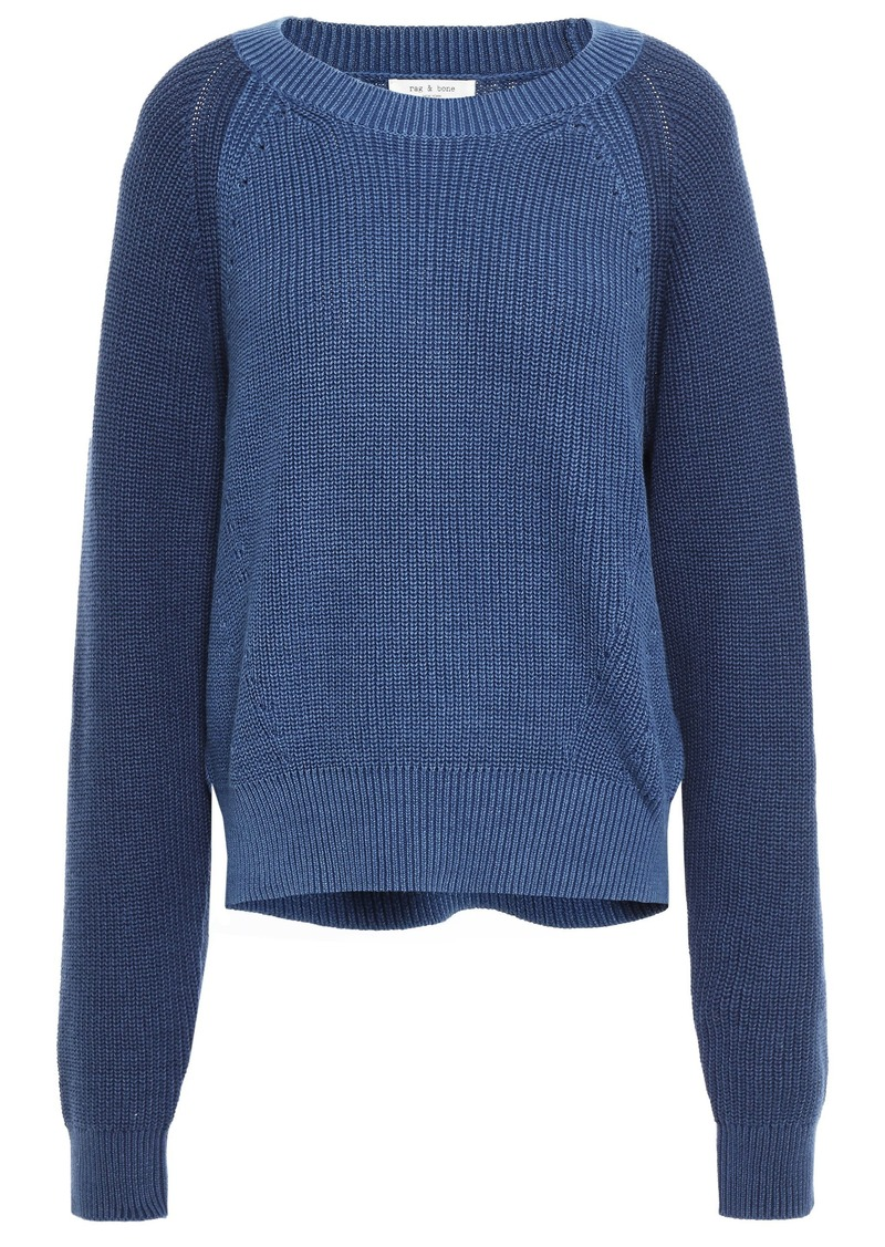 Rag & Bone Woman Two-tone Ribbed Cotton Sweater Blue
