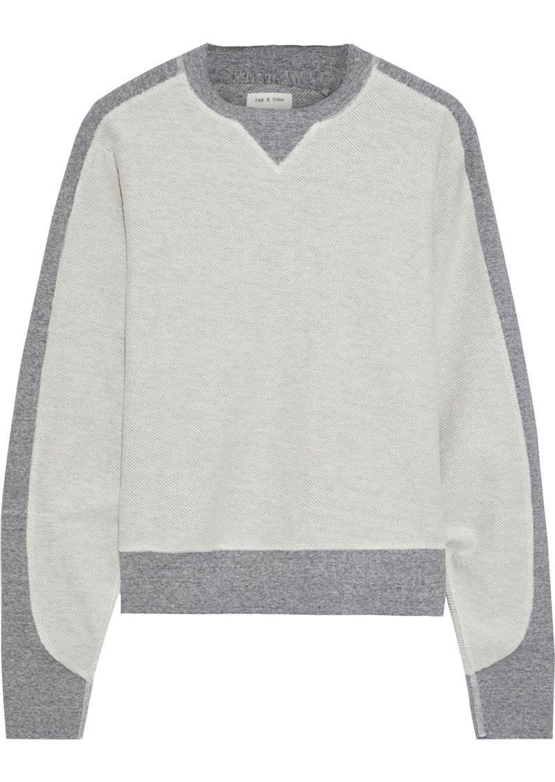 Rag & Bone Woman Utility Two-tone Cotton-terry Sweatshirt Light Gray