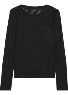 Rag & Bone Woman Valencia Burnout Jersey Top Black