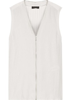 Rag & Bone Woman Valerie Zip-detailed Twill And Pointelle-knit Top Off-white