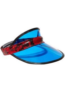 Rag & Bone Woman Vegas Snake-effect Leather-trimmed Pvc Visor Bright Blue