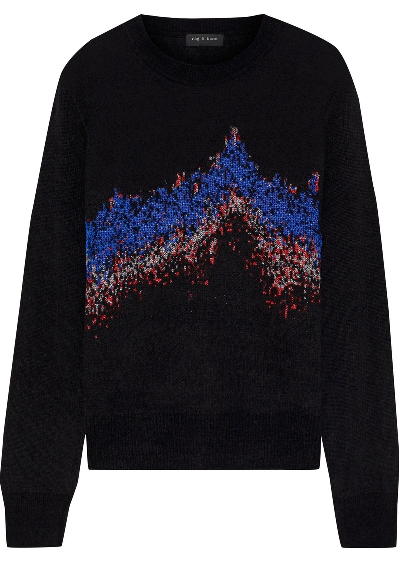 Rag & Bone Woman Verity Sonar Jacquard-knit Sweater Black
