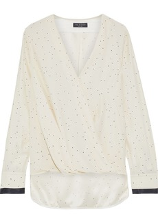 Rag & Bone Woman Victor Wrap-effect Printed Silk Crepe De Chine Blouse Ivory