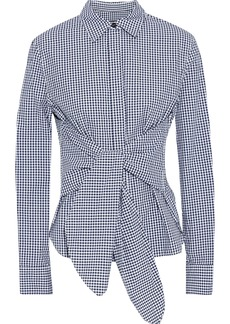 Rag & Bone Woman Wendy Tie-front Gingham Cotton-poplin Shirt Navy