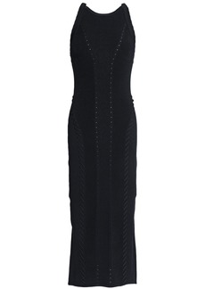 Rag & Bone Woman Whipstitched Ribbed-knit Midi Dress Black