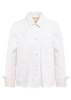 Rag & Bone Woman Workwear Frayed Cotton And Linen-blend Jacket Ivory