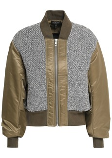 Rag & Bone Woman Woven-paneled Cotton-shell Bomber Jacket Army Green