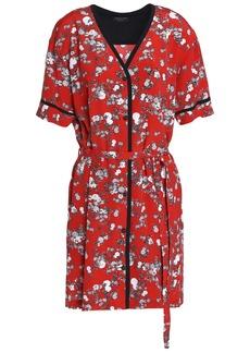 Rag & Bone Woman Zac Floral-print Silk Crepe De Chine Mini Shirt Dress Red