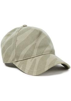 Rag & Bone Woman Zebra-print Denim Baseball Cap Army Green