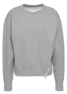 Rag & Bone Woman Zip-detailed Mélange French Cotton-terry Sweatshirt Stone