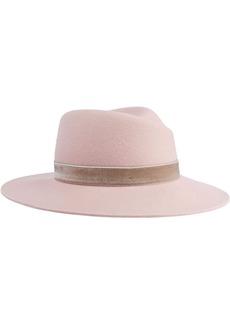 Rag & Bone Woman Zoe Printed Calf Hair-trimmed Wool-felt Fedora Pastel Pink