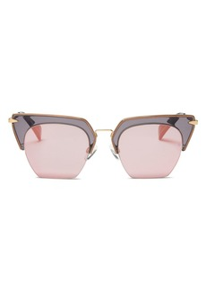 rag & bone Women's 1007 Mirrored Rimless Geometric Sunglasses, 51mm