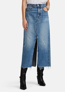 Rag & Bone Women's Clyde Distressed Long Denim Skirt