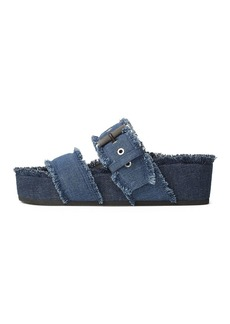 rag & bone Women's Evin Frayed Denim Platform Slide Sandals