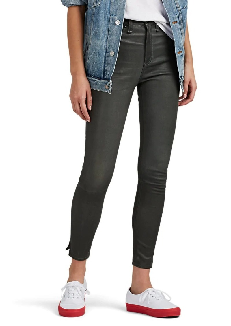 Rag & Bone Women's Leather High-Rise Ankle Skinny Jeans