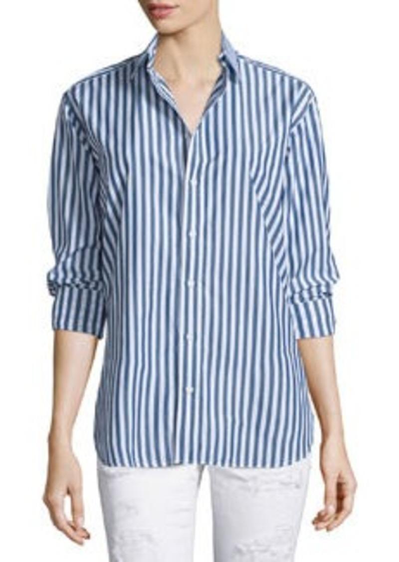 rag & bone/JEAN Button-Front Striped Boyfriend Shirt