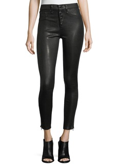 rag & bone/JEAN Ame Mid-Rise Button-Fly Skinny Leather Pants