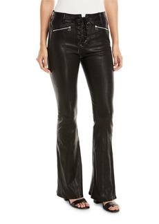 rag & bone/JEAN Bella Lace-Up Leather Bell Bottom Pants