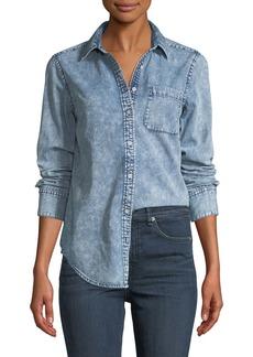 Rag & Bone Bleachout Classic Long-Sleeve Button-Down Denim Shirt