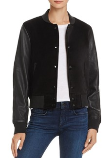 rag & bone/JEAN Camden Leather-Sleeve Bomber Jacket
