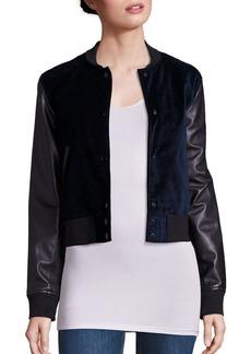 rag & bone/JEAN Camden Velvet & Leather Varsity Jacket