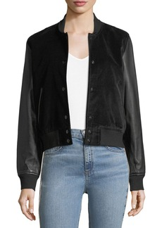 rag & bone/JEAN Camden Velveteen Varsity Jacket w/ Leather Sleeves